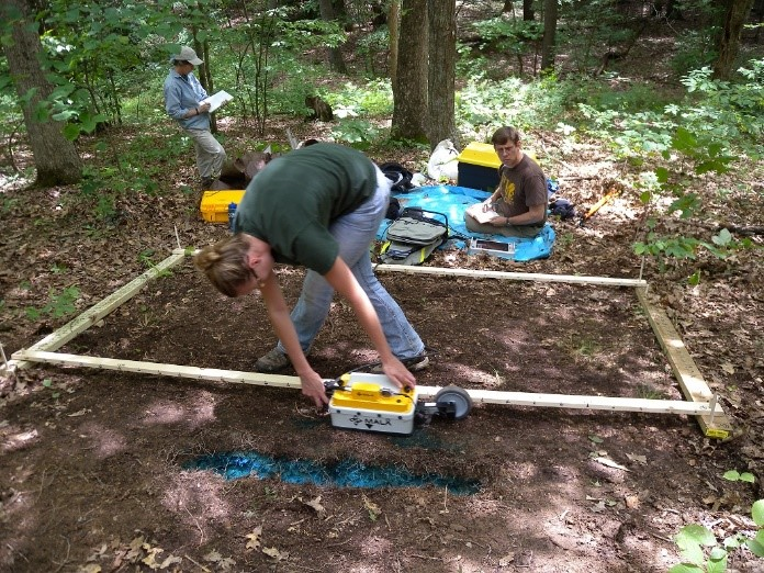 Geophysical survey of dye tracer test on the Shale Hills CZO conducted by Temple University.