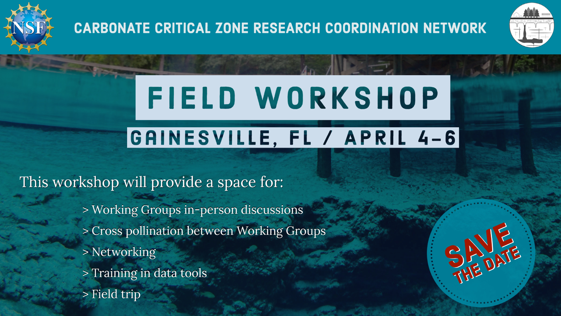 Save the date for the Field Workshop in Gainesville, FL on April 4-6, 2022. Workshop will provide space for Working Group in person discussions, cross pollinations between Working Groups, networking, Training in data tools and a field trip